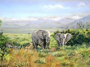 S16SNELSON BRONZE (w) - 'Elephants on the Shamwari' by Mike Harrison